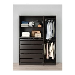 PAX wardrobe, black-brown
