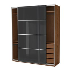 PAX wardrobe, brown stained ash effect, Uggdal gray glass