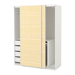 PAX wardrobe, white, Fjellhamar light bamboo
