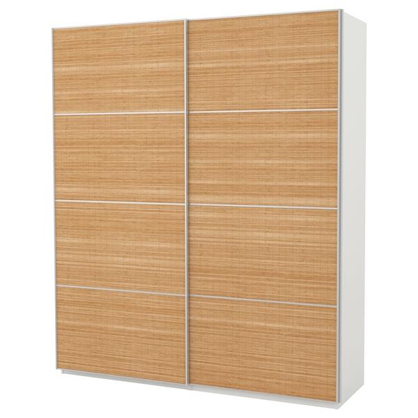 "PAX wardrobe white/Fjellhamar dark bamboo 78 3/4 "" 26 "" 93 1/8 """
