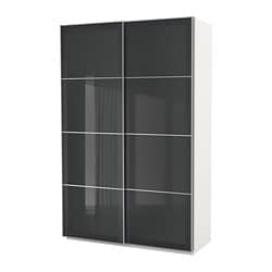 PAX wardrobe, white, Uggdal gray glass