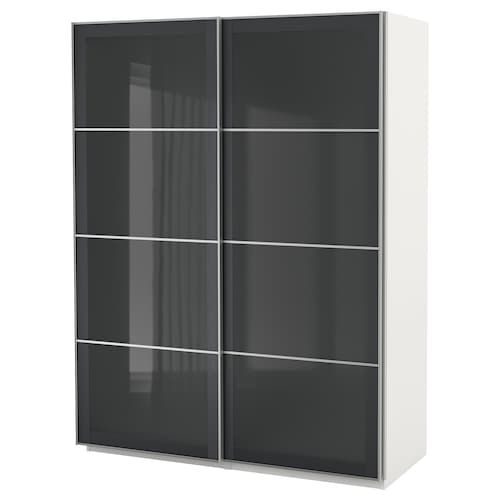 "PAX wardrobe white/Uggdal gray glass 59 "" 26 "" 79 1/4 """