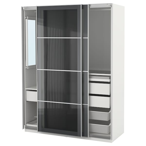 pax wardrobe white uggdal gray glass ikea