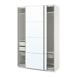 PAX wardrobe, white, Auli mirror glass