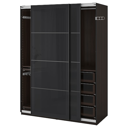 "PAX wardrobe black-brown/Uggdal gray glass 59 "" 26 "" 79 1/4 """