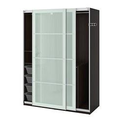 PAX wardrobe, black-brown, Sekken frosted glass