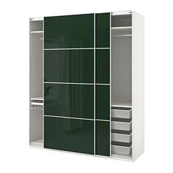 PAX wardrobe, white Hokksund, high gloss dark green