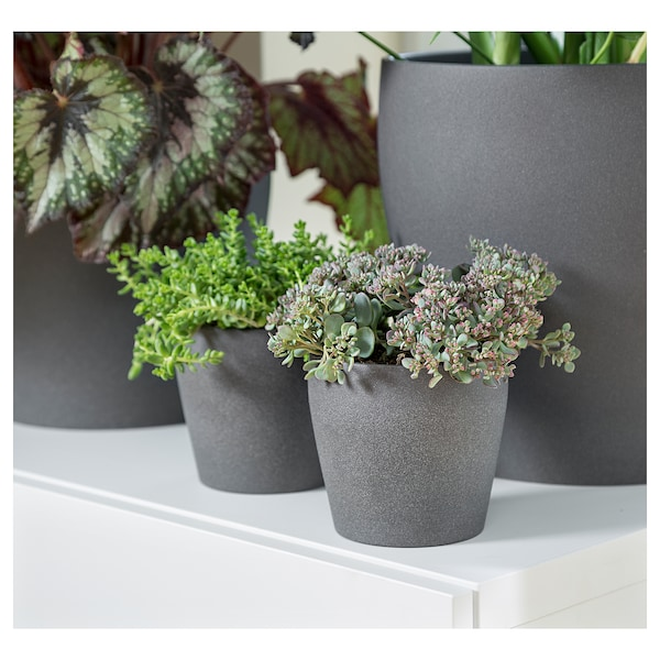 PERSILLADE Plant pot, dark gray, 4 ""