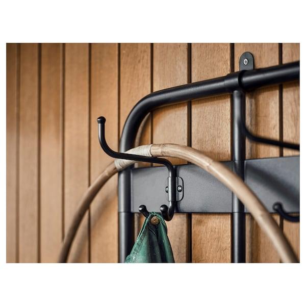 "PINNIG Coat rack with shoe storage bench, black, 76 """
