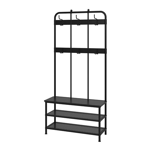 PINNIG Coat rack with shoe storage bench - IKEA