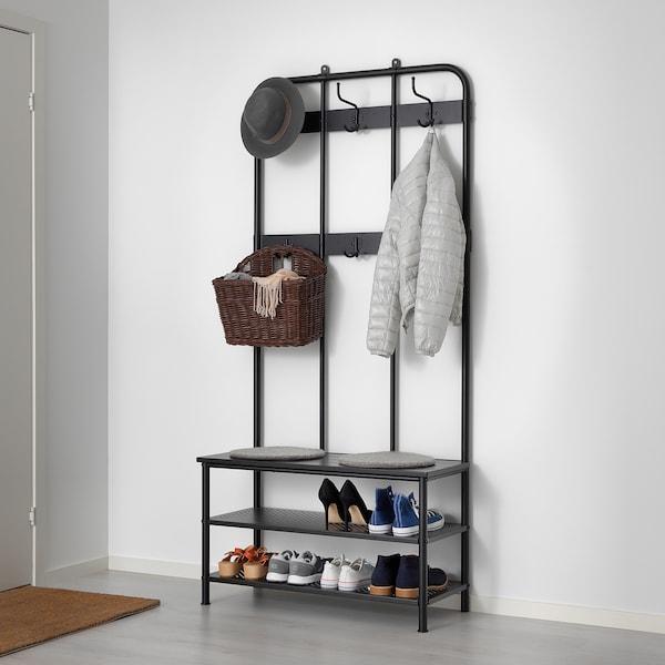 PINNIG Coat rack with shoe storage bench, black - IKEA