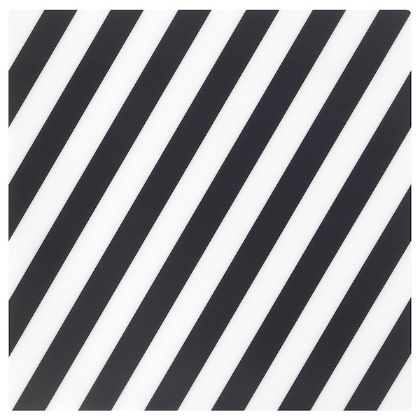 "PIPIG Place mat, stripe/black/white, 14 ½x14 ½ """