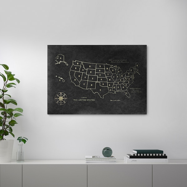 """PJÄTTERYD Picture, Map of the USA, 39 ¼x27 ½ """""""