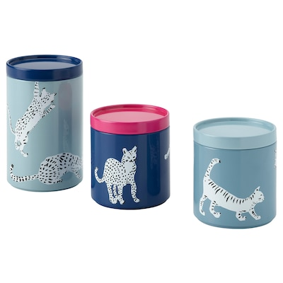 PLUGGHÄST Storage tin with lid, set of 3, cat/multicolor