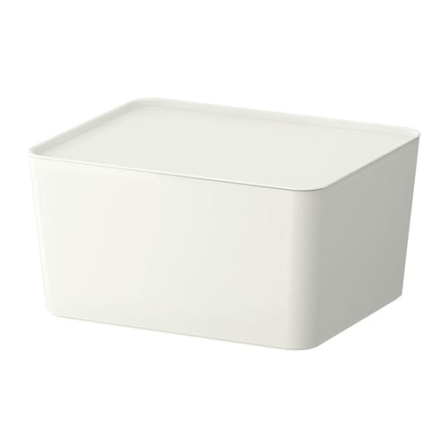 PLUGGIS Box with lid IKEA This box is suitable for storing your newspapers, magazines, photos or other memorabilia.