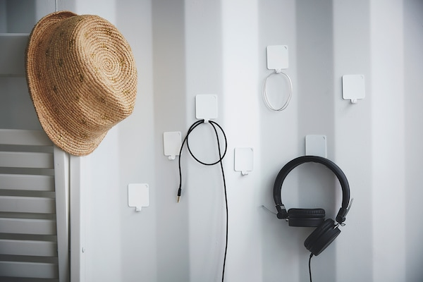 PLUTT Hook, self-adhesive, white