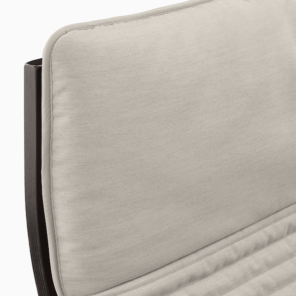 POÄNG Armchair, black-brown/Knisa light beige
