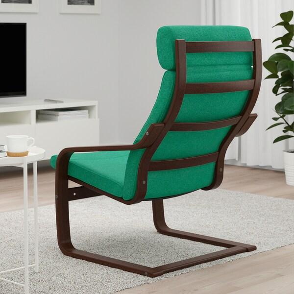 POÄNG Armchair, brown/Lysed bright green