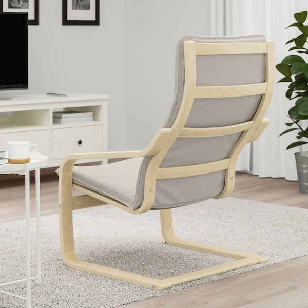 "POÄNG armchair birch veneer/Knisa light beige 26 3/4 "" 32 1/4 "" 39 3/8 "" 22 "" 19 5/8 "" 16 1/2 """
