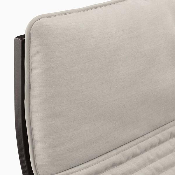 "POÄNG armchair black-brown/Knisa light beige 26 3/4 "" 32 1/4 "" 39 3/8 "" 22 "" 19 5/8 "" 16 1/2 """