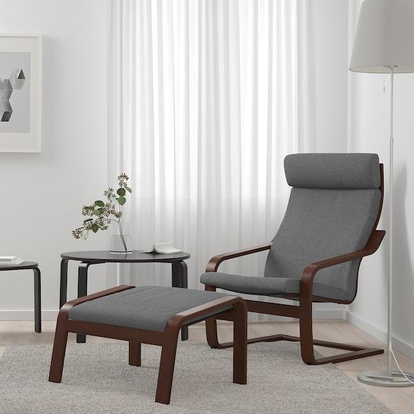 "POÄNG armchair brown/Lysed gray 26 3/4 "" 32 1/4 "" 39 3/8 "" 22 "" 19 5/8 "" 16 1/2 """