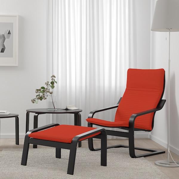 "POÄNG ottoman black-brown/Knisa red/orange 26 3/4 "" 21 1/4 "" 15 3/8 """
