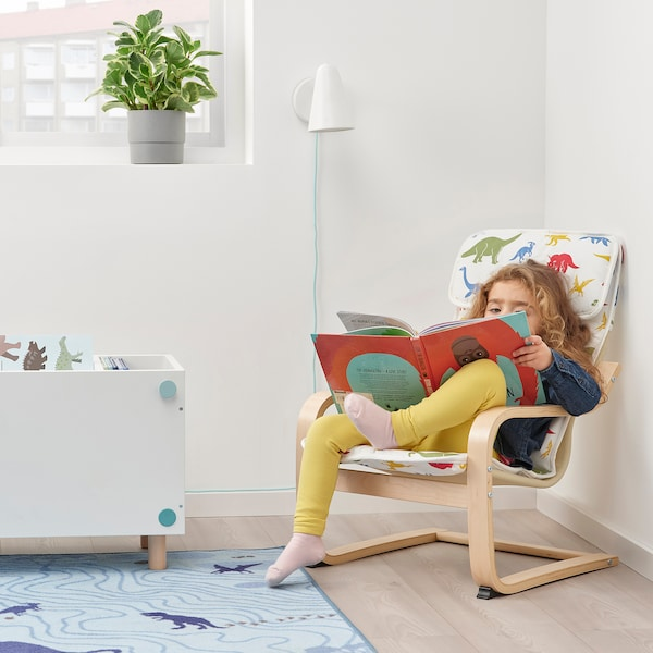 POÄNG Kid's armchair, birch veneer/Medskog dinosaur pattern
