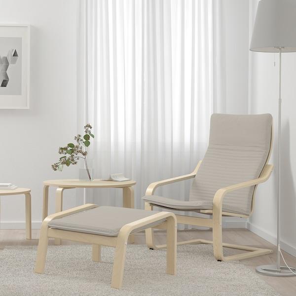 POÄNG Ottoman, birch veneer/Knisa light beige