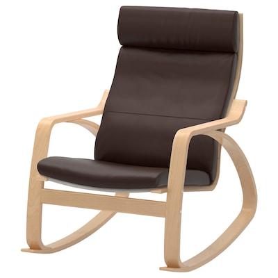 POÄNG Rocking chair, birch veneer/Glose dark brown