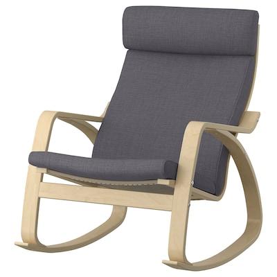 POÄNG Rocking chair, birch veneer/Skiftebo dark gray