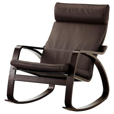 POÄNG Rocking chair, black-brown/Glose dark brown