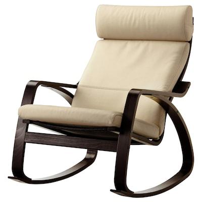 POÄNG Rocking chair, black-brown/Glose off-white