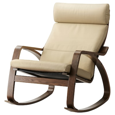 POÄNG Rocking chair, brown/Glose off-white