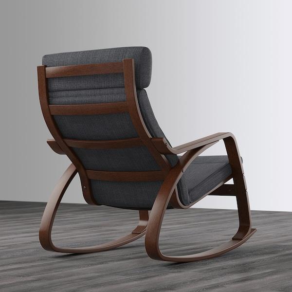 POÄNG Rocking chair, brown/Hillared anthracite