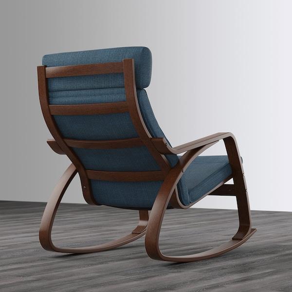POÄNG Rocking chair, brown/Hillared dark blue