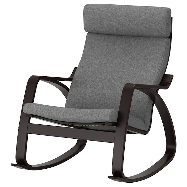 "POÄNG rocking chair black-brown/Lysed gray 26 3/4 "" 37 "" 37 3/8 "" 22 "" 19 5/8 "" 17 3/4 """