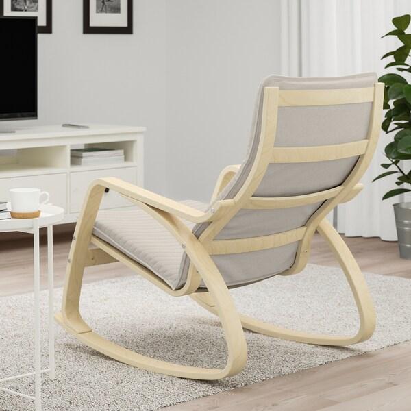 "POÄNG rocking chair birch veneer/Knisa light beige 26 3/4 "" 37 "" 37 3/8 "" 22 "" 19 5/8 "" 17 3/4 """