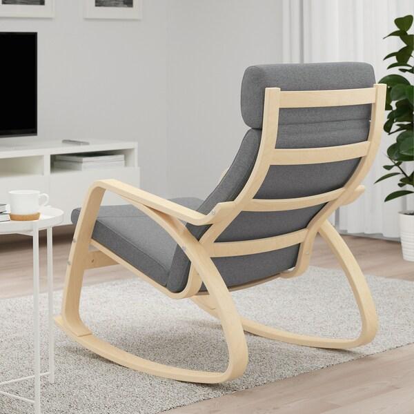"POÄNG rocking chair birch veneer/Lysed gray 26 3/4 "" 37 "" 37 3/8 "" 22 "" 19 5/8 "" 17 3/4 """