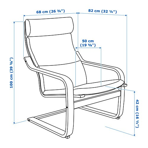 Poäng Armchair Hillared Anthracite Ikea