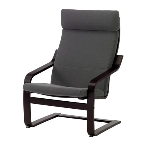 POÄNG Armchair, black-brown, Finnsta gray Finnsta gray black-brown