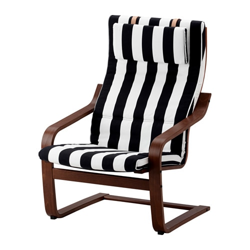 Po ng chair stenli black white ikea - Red poang chair ...