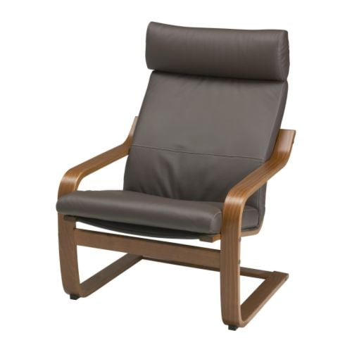 Poang Chair From Ikea With The Footstool ~ POÄNG Chair IKEA Layer glued bent beech frame gives comfortable