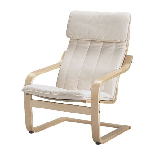 Po ng chair alme natural birch veneer ikea - Red poang chair ...