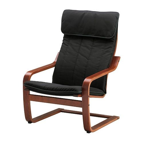 Po ng chair alme black medium brown ikea - Poang chair leather ...