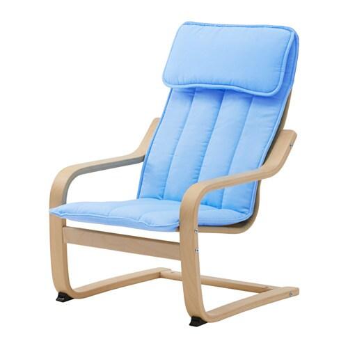 POÄNG Children's armchair - birch veneer/Almås blue - IKEA