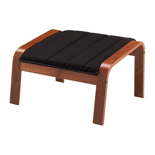 POÄNG Ottoman, medium brown, Ransta black Ransta black medium brown