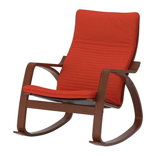 po ng rocking chair knisa red orange ikea. Black Bedroom Furniture Sets. Home Design Ideas