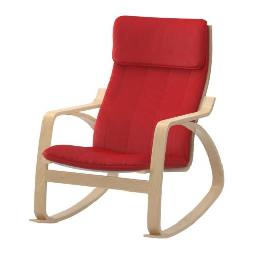 Po ng rocking chair alme medium red birch veneer ikea - Red poang chair ...