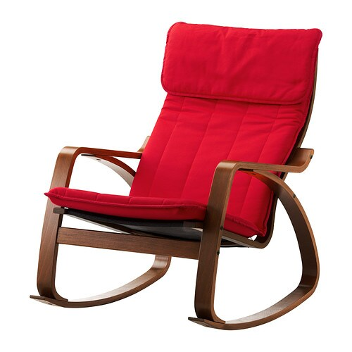 Po ng rocking chair ransta red ikea - Red poang chair ...
