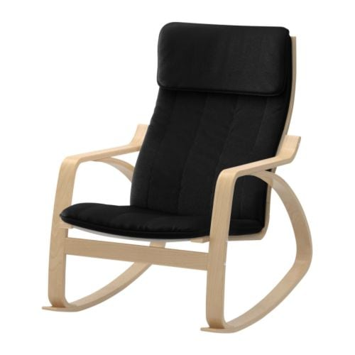 Po ng rocking chair alme black birch veneer ikea for Chaise rocking chair ikea